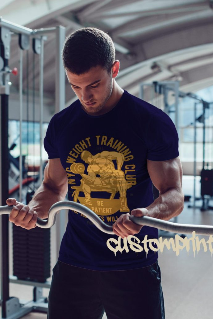 Mens weight training club t-shirt in navy blue
