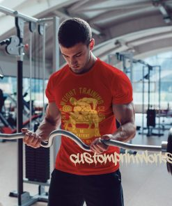 Mens weight training club t-shirt in red