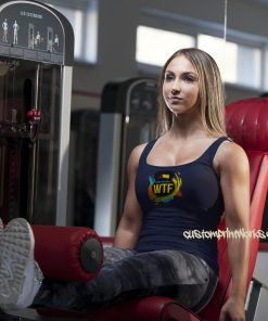 navy blue Ladies gym vest with black kettlebell logo with text Witness the fitness