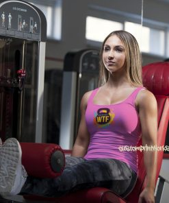 pink Ladies gym vest with black kettlebell logo with text Witness the fitness
