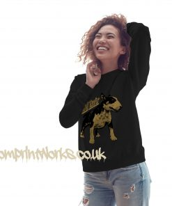 womens bull terrier sweatshirt in black with gold print on jumper