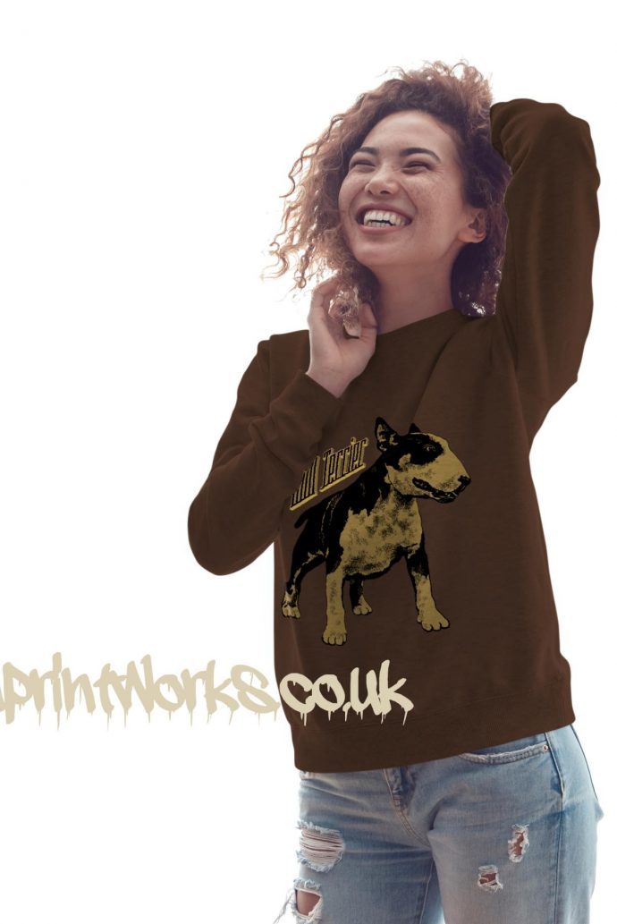 womens bull terrier sweatshirt in brown with gold print on jumper