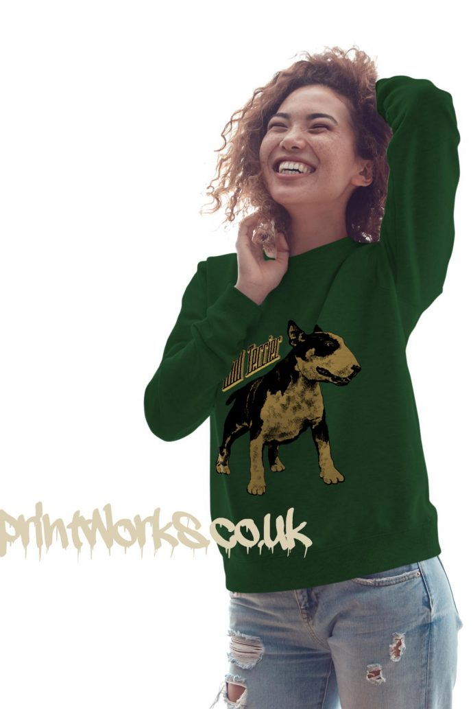 womens bull terrier sweatshirt in green with gold print on jumper