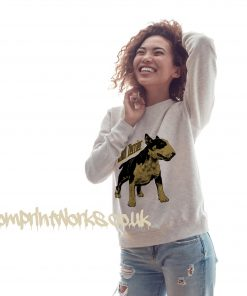 womens bull terrier sweatshirt in heather grey with gold print on jumper