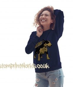 womens bull terrier sweatshirt in navy blue with gold print on jumper
