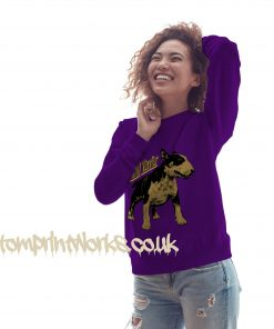 womens bull terrier sweatshirt in purple with gold print on jumper