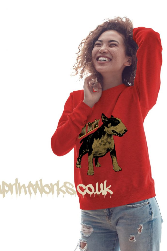 womens bull terrier sweatshirt in red with gold print on jumper