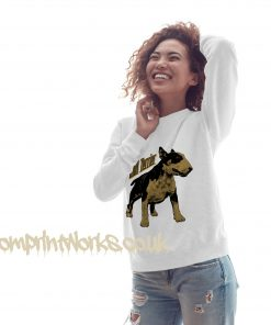 womens bull terrier sweatshirt in white with gold print on jumper