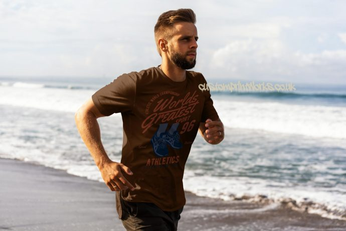 brown running t-shirt with text worlds greatest runner