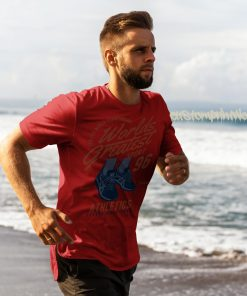 red running t-shirt with text worlds greatest runner