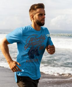 sky blue running t-shirt with text worlds greatest runner