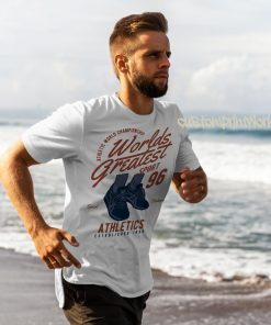 white running t-shirt with text worlds greatest runner