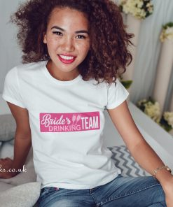 brides drinking team t-shirt in white