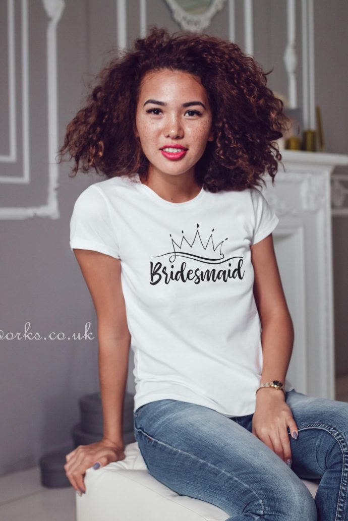 bridesmaid t-shirt script with crown