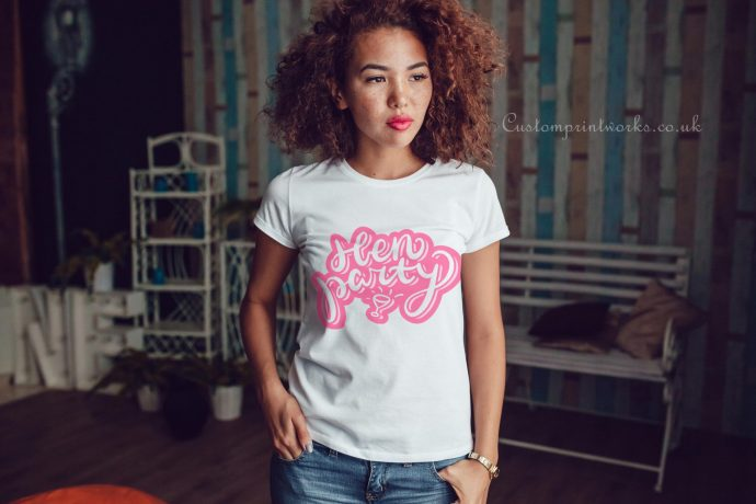 hen party text in pink on white t-shirt