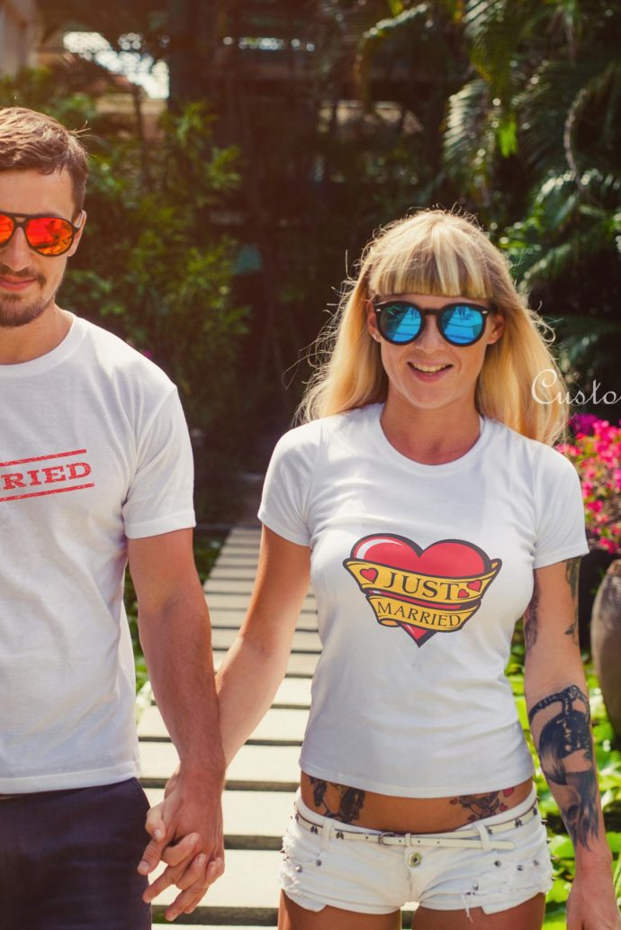 couple just married t-shirts in white