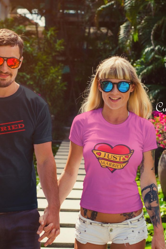couples just married tshirt