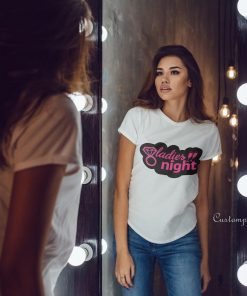 ladies night t-shirt with pink text in glitter with black background