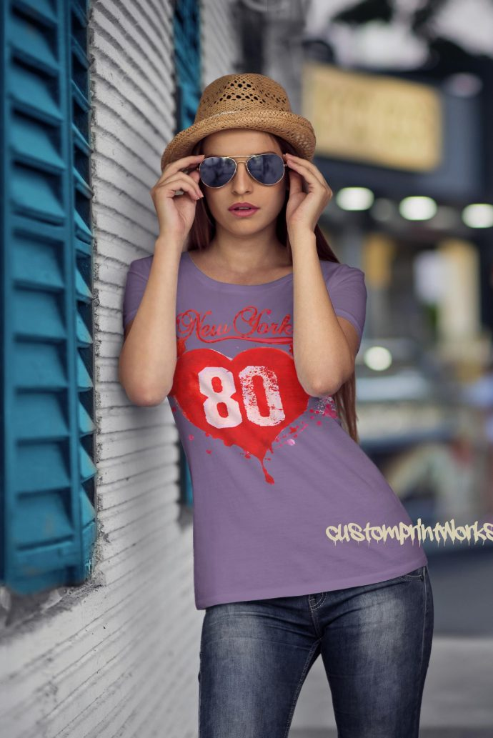 Love New York T-Shirt in purple with red print