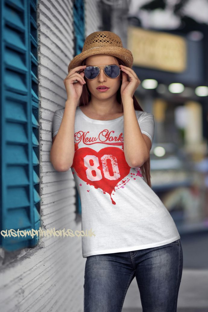 Love New York T-Shirt in white with red print