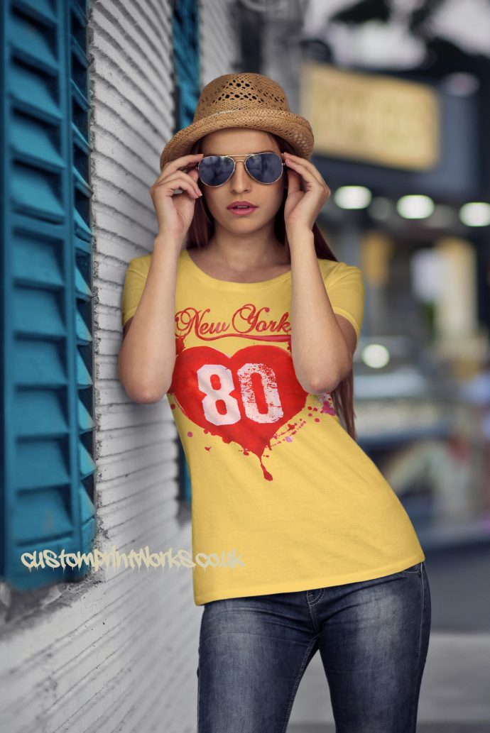 Love New York T-Shirt in yellow with red print