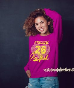 new york athletic pink sweatshirt with yellow print