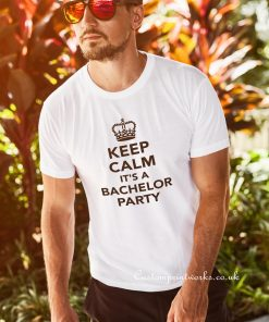 keep cam its a bachelor party text on white t-shirt text in black