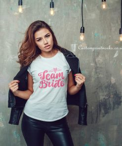 team bride hen party t-shirt pink text white t-shirt