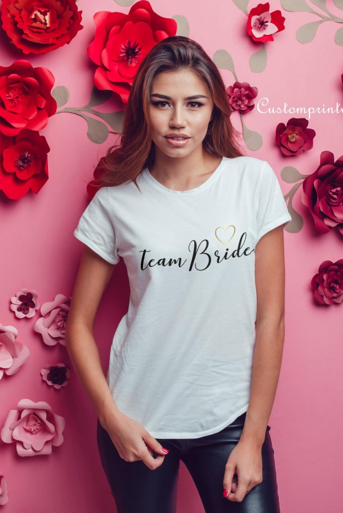 brides team script t-shirt with gold heart