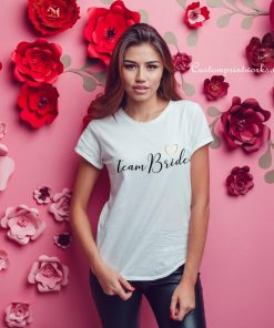 team bride t-shirt gold glitter wings