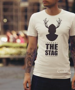 man with stag antlers stag party t-shirt